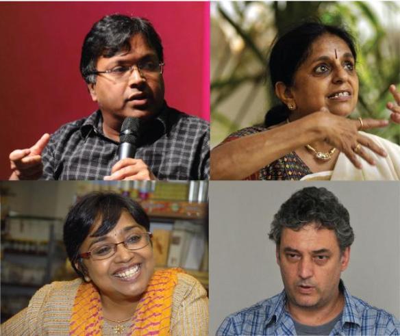Top: Devdutt Pattanaik, Geetha Ramanujam. Below: Jeeva Raghunathan, Eric Miller.