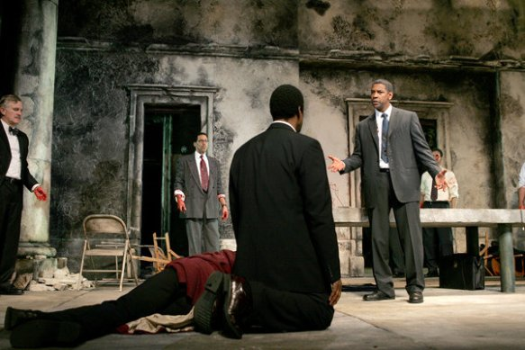Denzel Washington, far right, in the 2005 Broadway production of Julius Caesar.