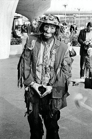 "Emmett Kelly as ""Weary Willy,"" the most famous example of the hobo-clown persona"