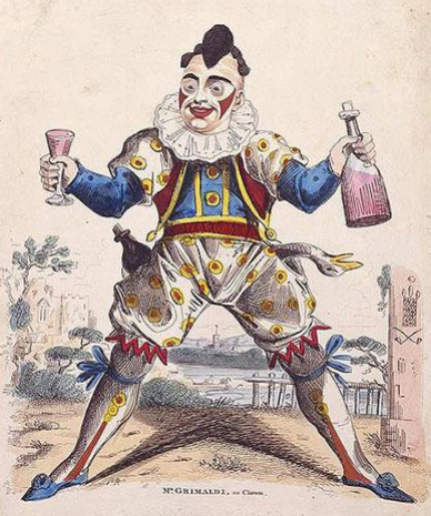 A drawing of Joseph Grimaldi as his famous persona Clown Joey.