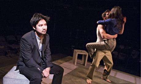 David Henry Hwang, left, Ben Starr and Gemma Chan in Yellow Face.