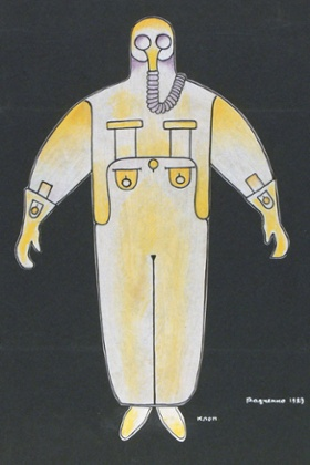 Alexander Rodchenko costume design for Bedbug, 1929, a comedy by Mayakovsky whose hero is frozen for 50 years to await a Communist paradise