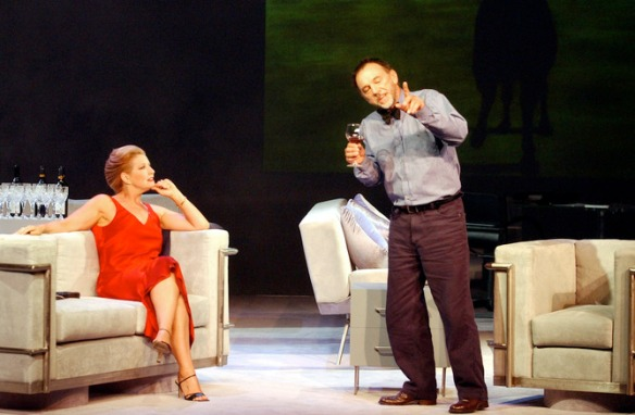 Sydney, April 17, 2002. (lt-rt) Amanda Muggleton and William Zappa in a scene from the new David Williamson play 'Soulmates' at the Drama Theatre, Sydney Opera House. 'Soulmates' takes a swipe at the entire literary foundation. (AAP Image/Dean Lewins) NO ARCHIVING